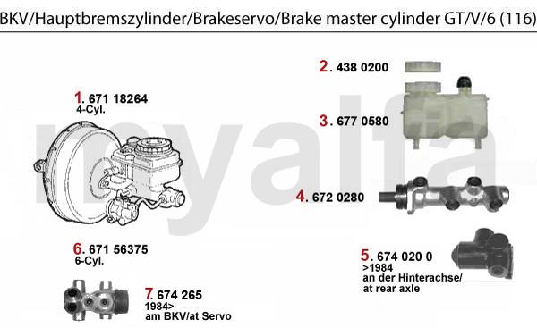 Alfa Romeo Alfetta GTV-6 Milano Spider Ate Brake Master Cylinder 010128