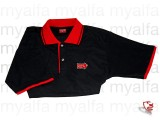 """Polohemd schwarz, roter       Kragen """"Mille Miglia"""",        100% Baumwolle"""